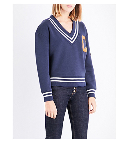 CLAUDIE PIERLOT V-neck cotton-blend sweatshirt (Petrol
