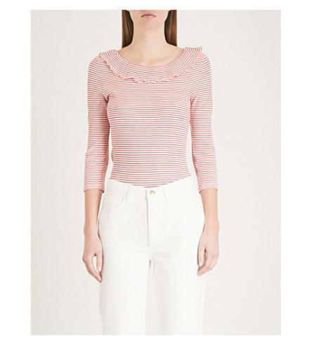 CLAUDIE PIERLOT Striped cotton-jersey top (Cream