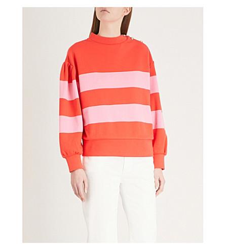 CLAUDIE jersey algodón de rayas Sudadera PIERLOT Coral fqrwfTB8