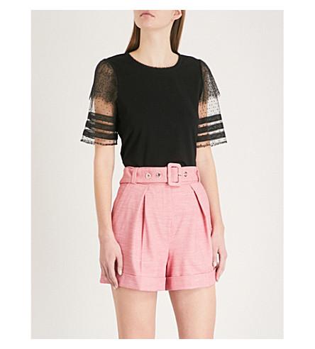 CLAUDIE PIERLOT Lace-trim cotton-jersey T-shirt (Black