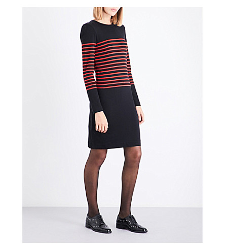 CLAUDIE PIERLOT Striped cotton-blend dress (Noir