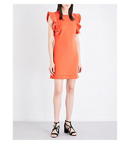 CLAUDIE PIERLOT Tigre cotton-blend dress (Orange