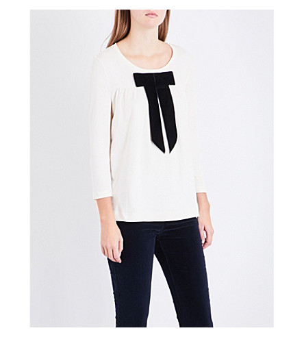CLAUDIE PIERLOT Velvet-bow cotton-jersey top (Vanille