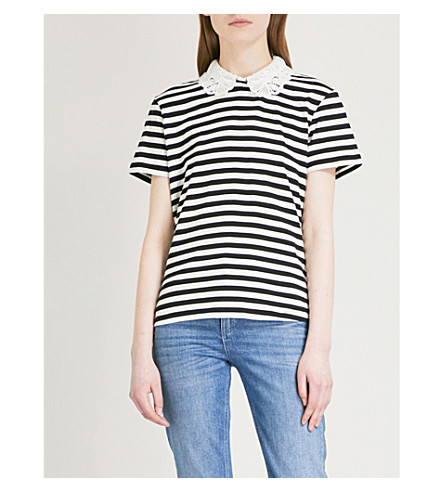 CLAUDIE PIERLOT Detachable-collar striped jersey top (Cream