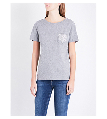 CLAUDIE PIERLOT Embellished cotton-jersey T-shirt (Gris+chine+clair