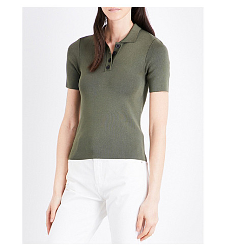 CLAUDIE PIERLOT Fitted polo-collar top (Kaki