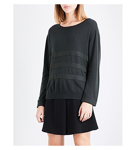 CLAUDIE PIERLOT Strapped wool jumper (Vert+fonce