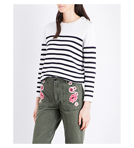 CLAUDIE PIERLOT Merlin striped cotton sweater (Ecru
