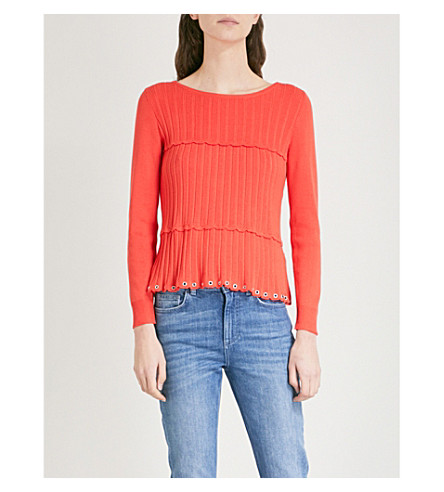 CLAUDIE PIERLOT Scalloped ribbed-knit jumper (Coral