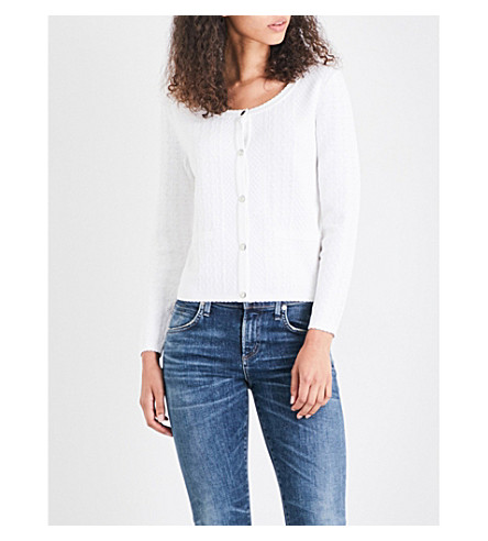 CLAUDIE PIERLOT Monica geometric knitted cardigan (Ecru