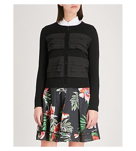 CLAUDIE PIERLOT Tiered-trim cotton cardigan (Black
