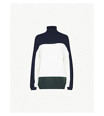 CLAUDIE PIERLOT Contrast panel knitted jumper (Ecru