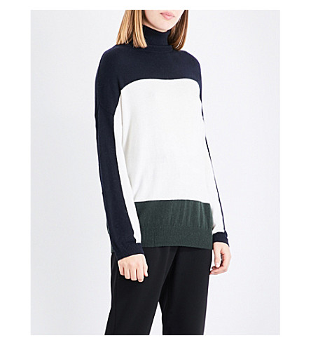 CLAUDIE PIERLOT Contrast panel knitted jumper (Ecru