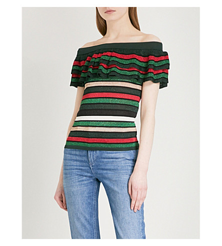 CLAUDIE PIERLOT Off-the-shoulder striped knitted top (Multi-coloured