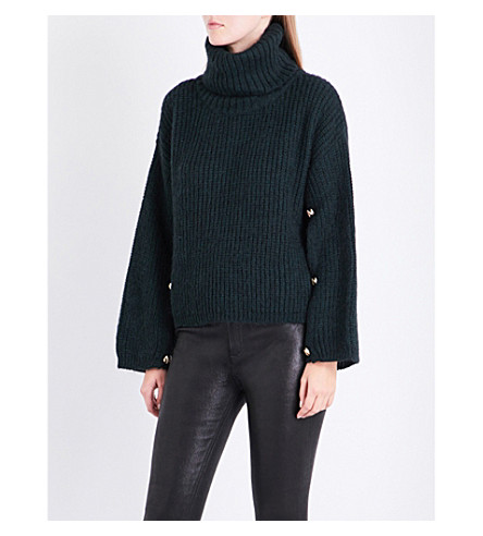 CLAUDIE PIERLOT Turtleneck knitted jumper (Vert+sapin