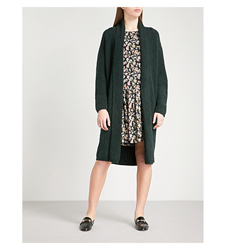 CLAUDIE PIERLOT Shawl-lapel knitted cardigan (Vert+sapin