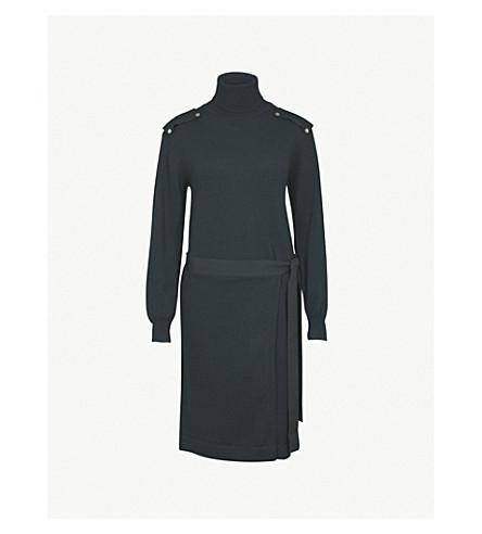 CLAUDIE PIERLOT 高领毛衣针织羊毛连衣裙 (垂直 + fonce