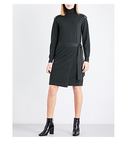 CLAUDIE PIERLOT Turtleneck knitted wool dress (Vert+fonce