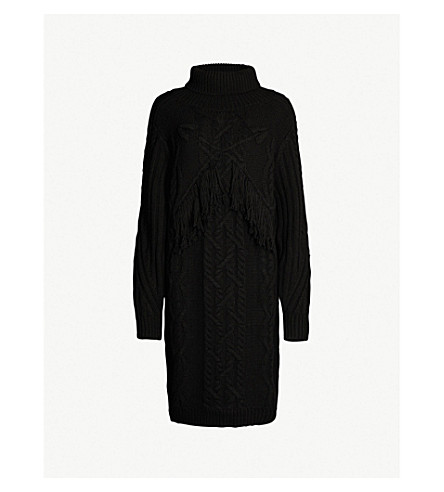 CLAUDIE PIERLOT Methew cable-knit wool-blend dress (Black