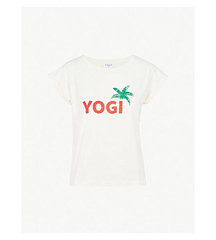 CLAUDIE PIERLOT Yogi-print cotton-jersey T-shirt (Cream