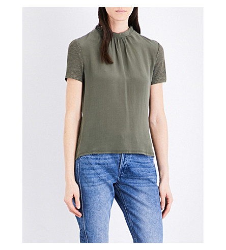 CLAUDIE PIERLOT Thomas draped-back silk and linen top (Kaki