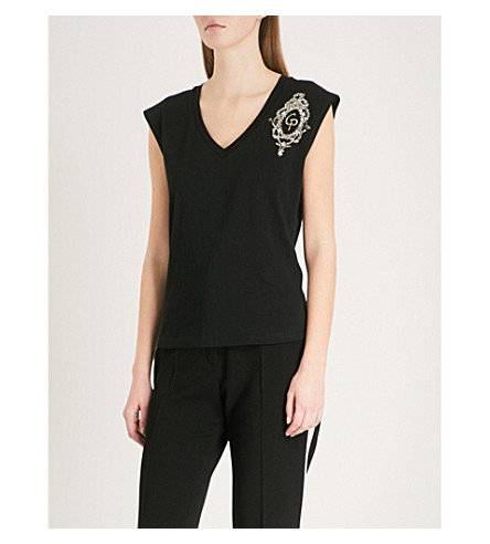 CLAUDIE PIERLOT Bead-embellished cotton-jersey top (Black
