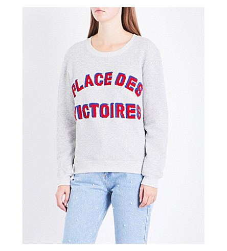 CLAUDIE PIERLOT Text-embroidered cotton-blend sweatshirt (Gris+chine+clair