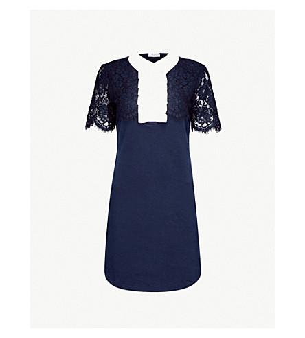 CLAUDIE PIERLOT Contrast-collar jersey mini dress (Petrol