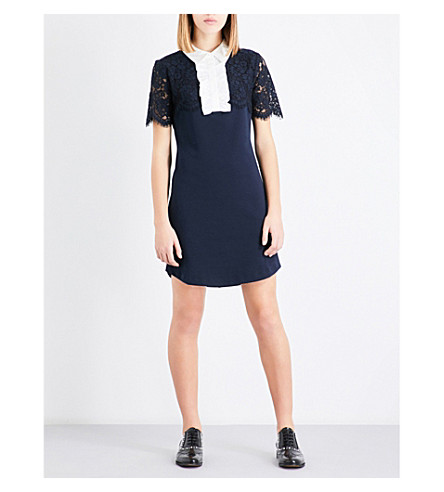 CLAUDIE PIERLOT Contrast-collar jersey mini dress (Petrol