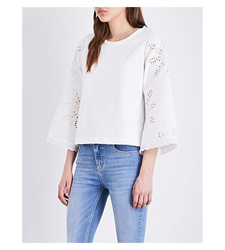 CLAUDIE PIERLOT True cotton-jersey and broderie anglaise sweatshirt (Ecru