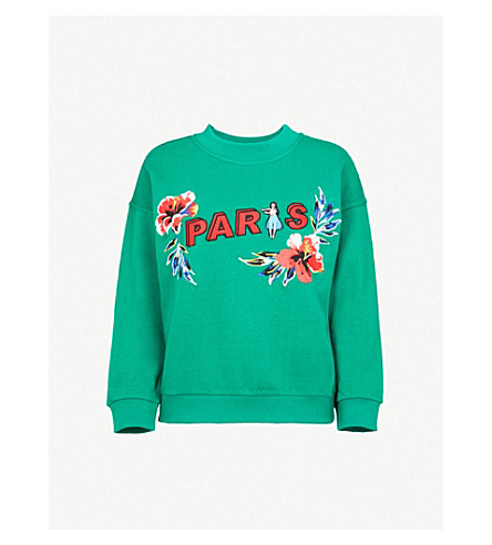 CLAUDIE PIERLOT Paris cotton-jersey sweatshirt (Dark+green