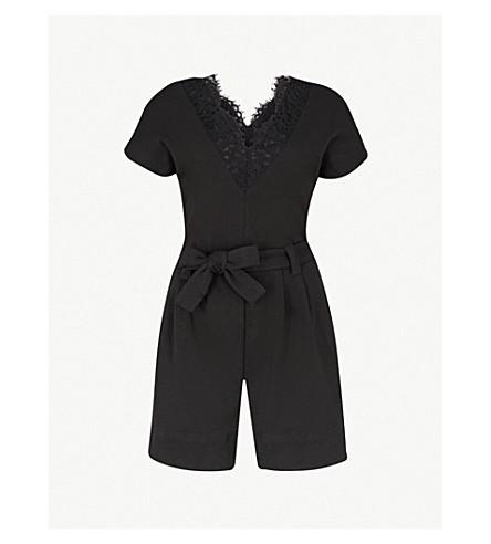 CLAUDIE PIERLOT Lace-trim cotton-jersey playsuit (Black