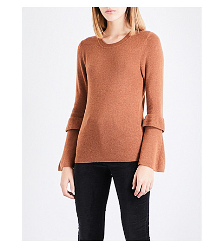 CLAUDIE PIERLOT Flared-sleeve wool and cashmere-blend jumper (Camel