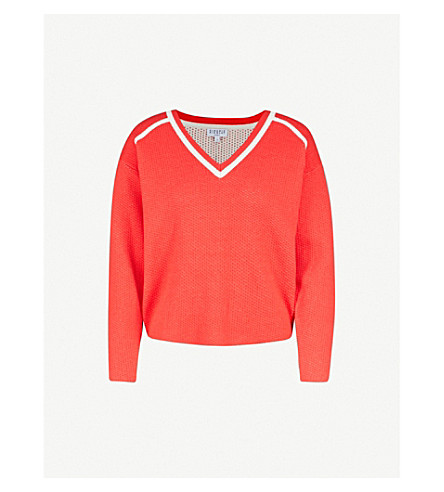 CLAUDIE PIERLOT Striped-detail V-neck knitted jumper (Coral