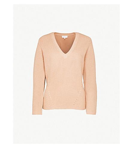 CLAUDIE PIERLOT V-neck wool and cashmere-blend jumper (Camel