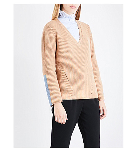 CLAUDIE PIERLOT V-neck wool and cashmere-blend jumper (Camel