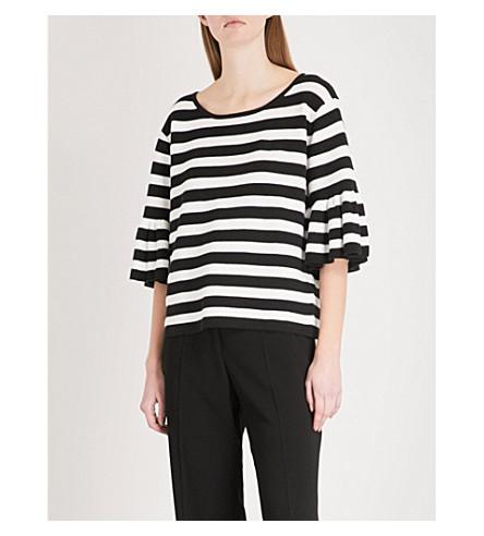 CLAUDIE PIERLOT Flared-sleeve striped cotton-blend jumper (Cream