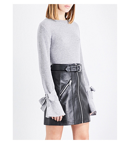 CLAUDIE PIERLOT Flared-cuff ribbed wool and cashmere-blend jumper (Gris+chine
