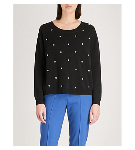CLAUDIE PIERLOT Star-detail cotton-blend jumper (Black