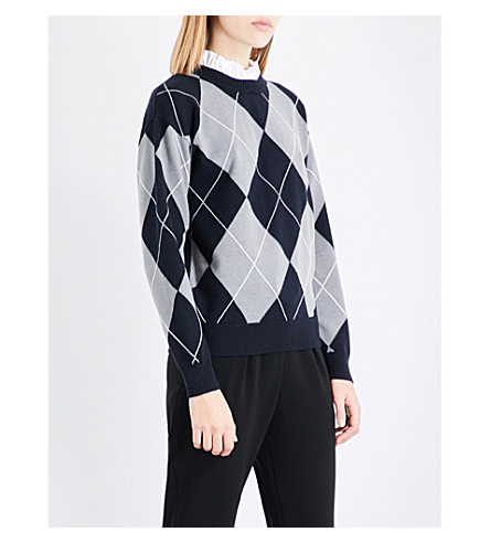 CLAUDIE PIERLOT Argyle knitted jumper (Gris+chine