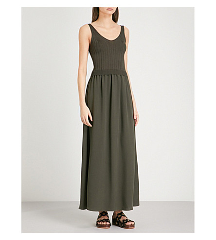 CLAUDIE PIERLOT Ribbed-knit and jersey dress (Khaki/olive
