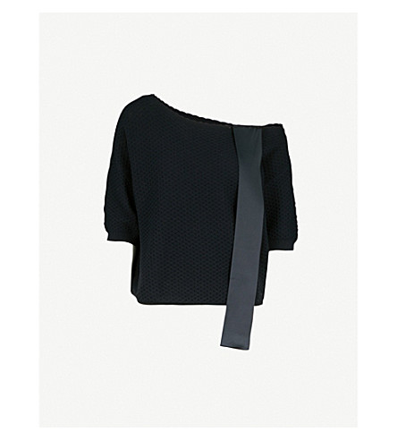 CLAUDIE PIERLOT Off-the-shoulder bow-detail knitted jumper (Blue
