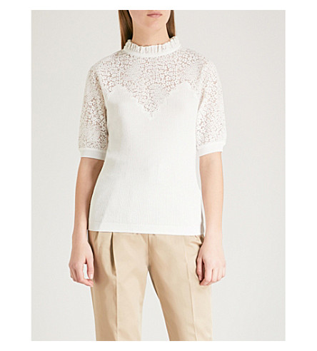 CLAUDIE PIERLOT Floral lace-panel knitted top (Cream