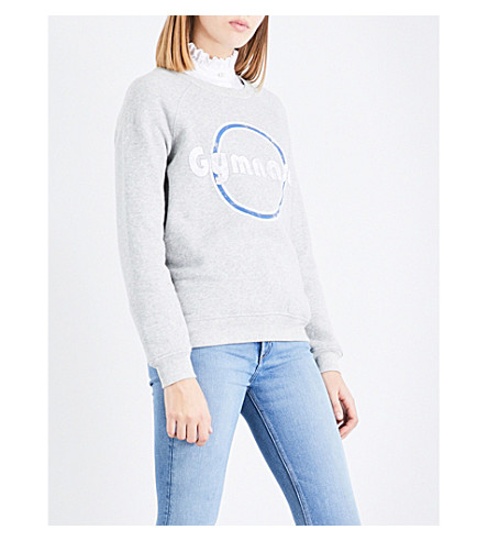 CLAUDIE PIERLOT Gymnase-print jersey sweatshirt (Gris+chine