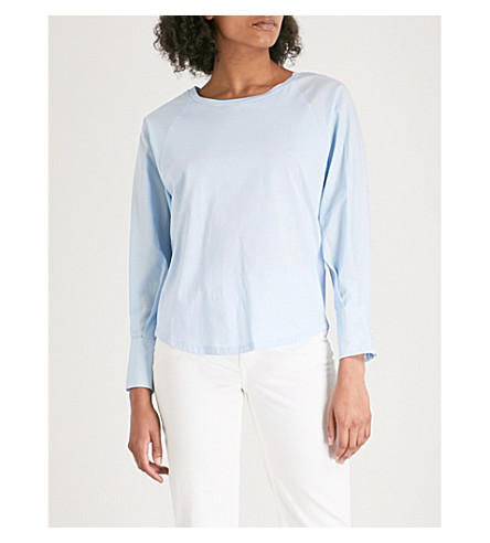 CLAUDIE PIERLOT Pleated-cuff cotton top (Blue