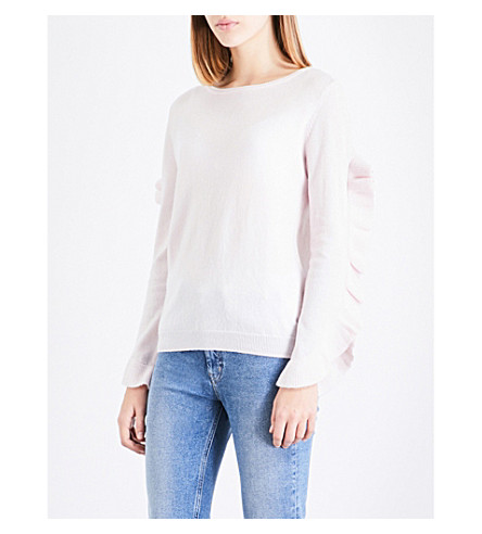 CLAUDIE PIERLOT Ruffle-trimmed wool and cashmere-blend jumper (Rose