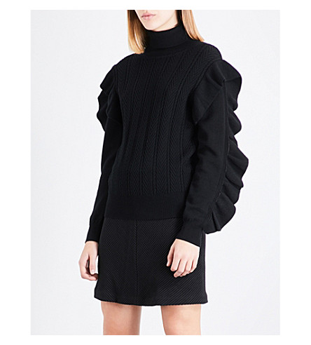 CLAUDIE PIERLOT Ruffle-trim wool and cashmere-blend jumper (Noir