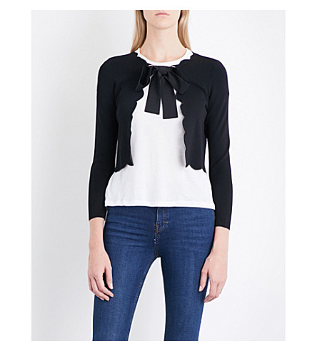 CLAUDIE PIERLOT Scalloped woven cardigan (Noir