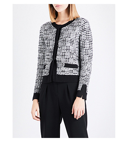 CLAUDIE PIERLOT Contrast-trim tweed cardigan (Ecru