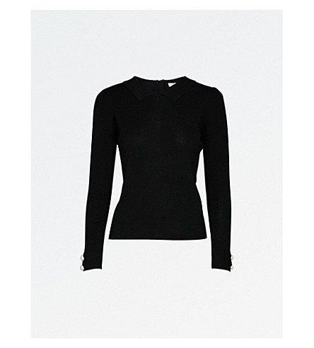 CLAUDIE PIERLOT Button-detailed ribbed wool-blend jumper (Noir